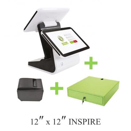 ANDROID POS SYSTEM - BOM INSPIRE MODEL BD1212B (DUAL SCREEN) + Receipt Printer + Cash Drawer